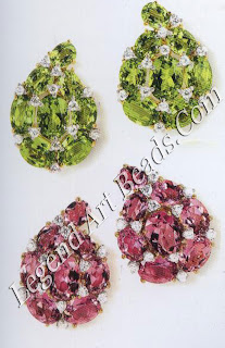 Two pairs of paisley earclips: Peridot and diamonds; pink tourmaline and diamonds.