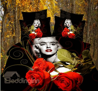 100% Cotton Wild Sexy Marilyn Monroe 4 Piece Bedding Sets