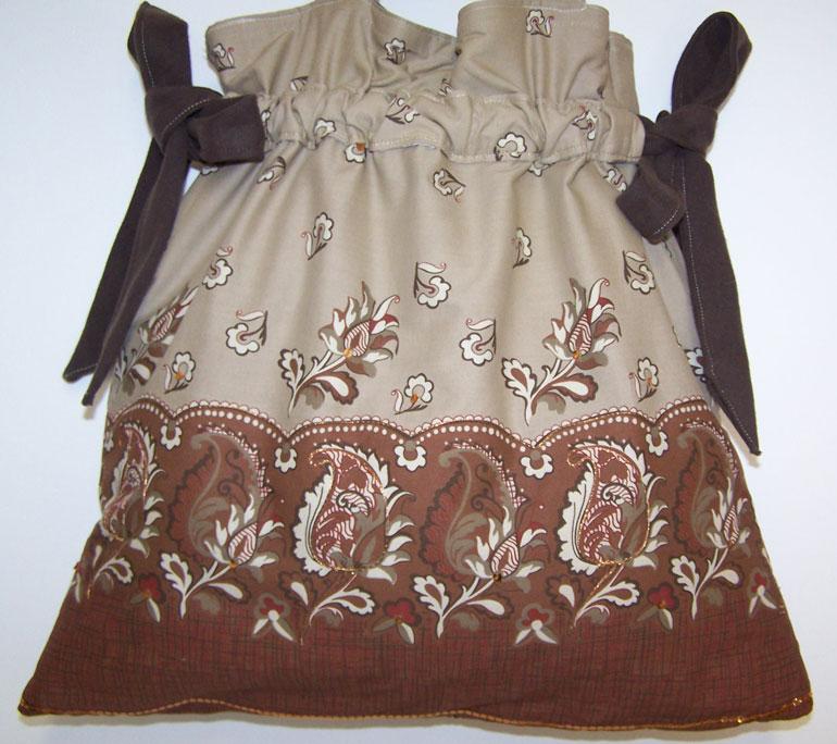 Handmade Mocha Paisley Drawstring Purse Handbag Sequins
