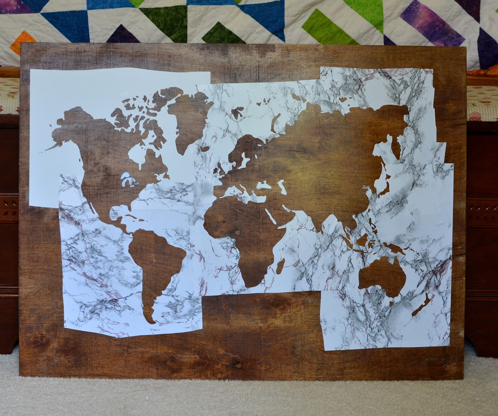 Plywood world map art may pinterest challenge sisters what plywood world map art gumiabroncs Gallery