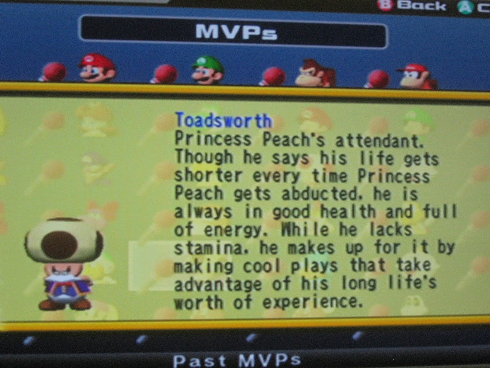 Toadsworth MVP Mario Super Star Baseball description records