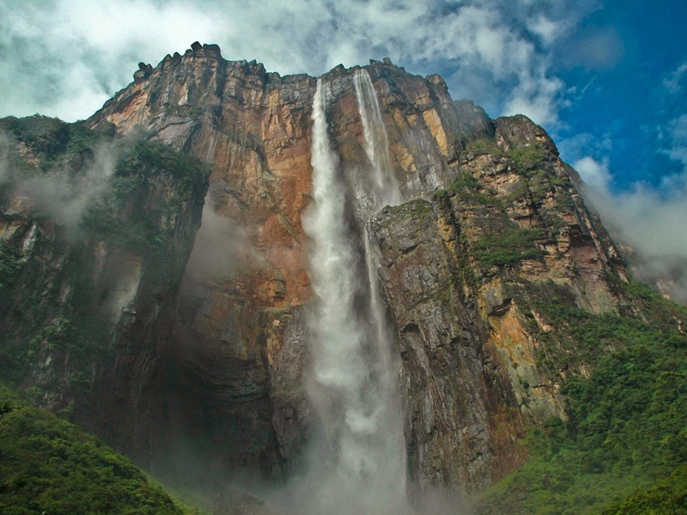 Most Amazing Waterfall Mountains Nature Place Widescreen Image