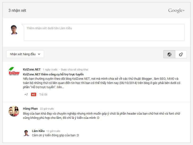 Nhận xét của Google+ trong Blogger