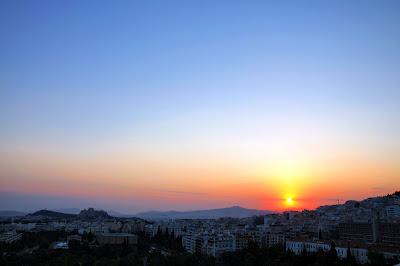 Athen & Acropolis at sunset, view from Hilton // Athen & Akropolis im Sonnenuntergang, Aussicht vom Hilton