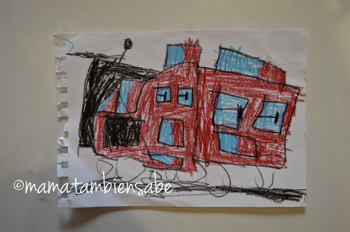 Dibujo coche bomberos niño de 4 años