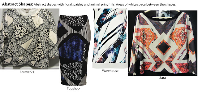 abstract, geometric, shop reports, british high street, topshop pencil skirt, forever21 jumper, zara blouse, digital prints, sliced print