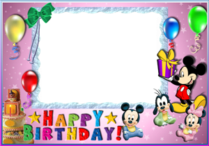 Mickey Mouse Happy Birthday Frames PNG