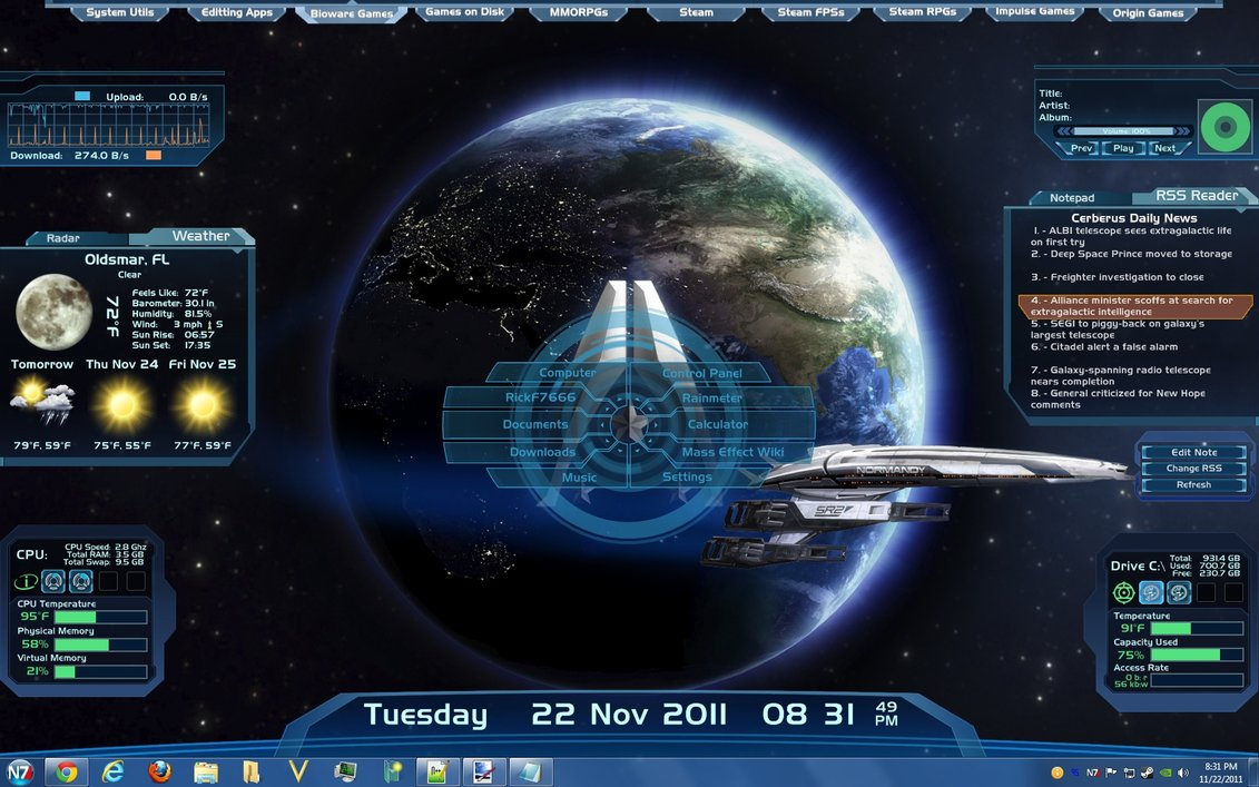 Customize windows for Bureau windows 7 rainmeter