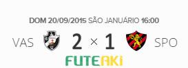 O placar de Vasco 2x1 Sport pela 27ª rodada do Brasileirão 2015