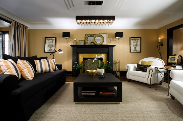 Sleek black living room on black and gold living room design ideas