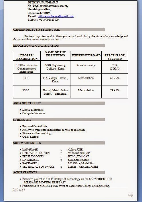 electronics engineering resumes