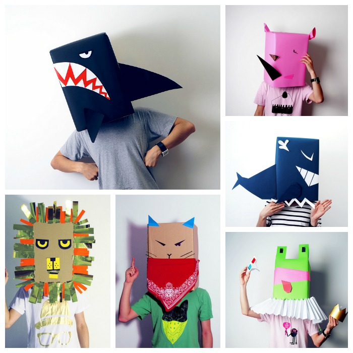 máscaras de animales de cartón reciclad, leones, ranas, gatos