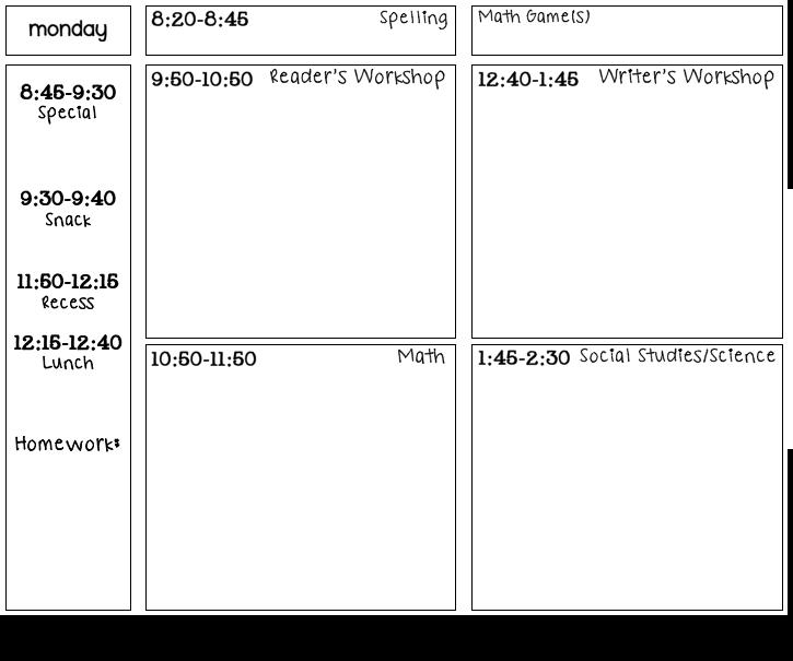 DayAtAGlance Lesson Template Ladybugs Teacher Files - Teacher lesson plan template