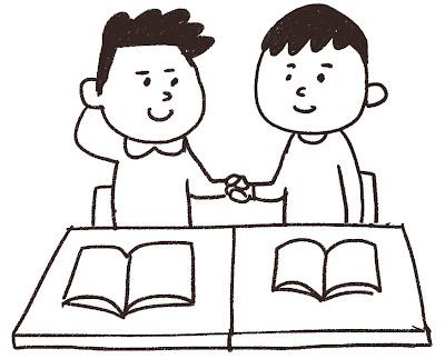 席替えのイラスト「新学期の生徒」 白黒線画