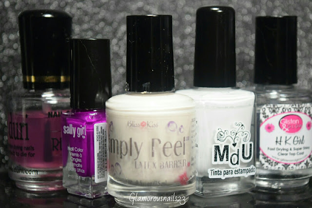 Duri Rejuvacote, Sally Girl XOXO, Bliss Kiss Simply Peel Latex Barrier, Mundo De Unas White, Glisten & Glow HK Girl Fast Drying Top Coat