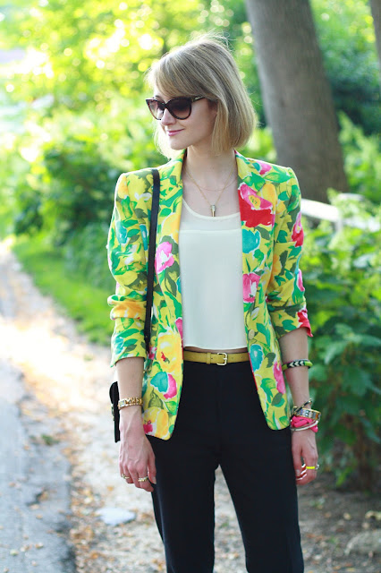floral blazer and layered jewelry