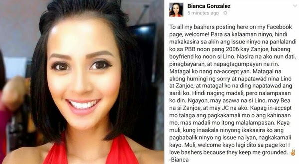 Bianca Gonzalez reacts to bashers on Facebook