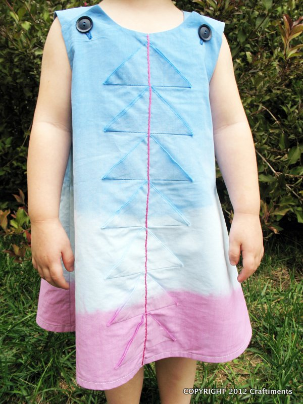 Craftiments Dippy Trippy Triangle Dress - Jumper made from a thrifted bed sheet and dip dyed for an ombre effect.