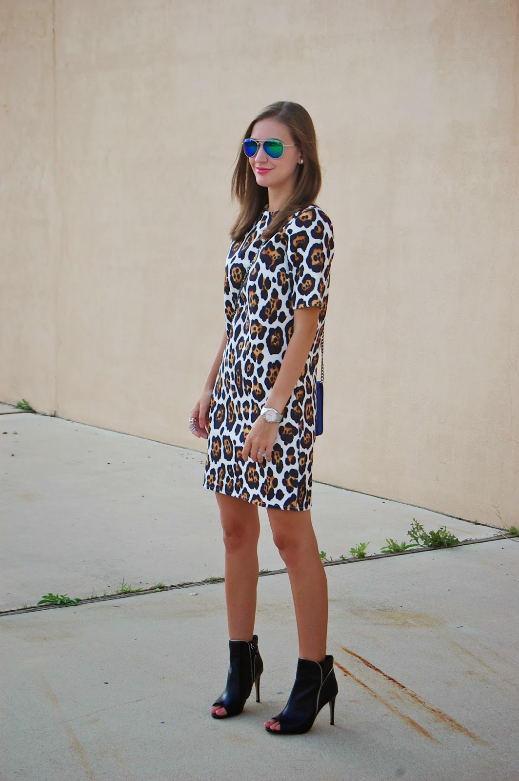 Wearing Leopard Shift Dress, Nordstrom Anniversary Sale Halogen Claudia zipper bootie, Halogen leather foldover crossbody clutch