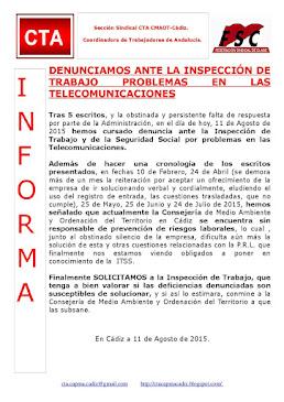 DENUNCIAMOS ANTE LA INSPECCIÓN DE TRABAJO PROBLEMAS EN LAS TELECOMUNICACIONES