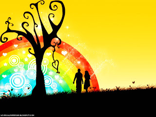 Lovers and Rainbow Love Wallpaper