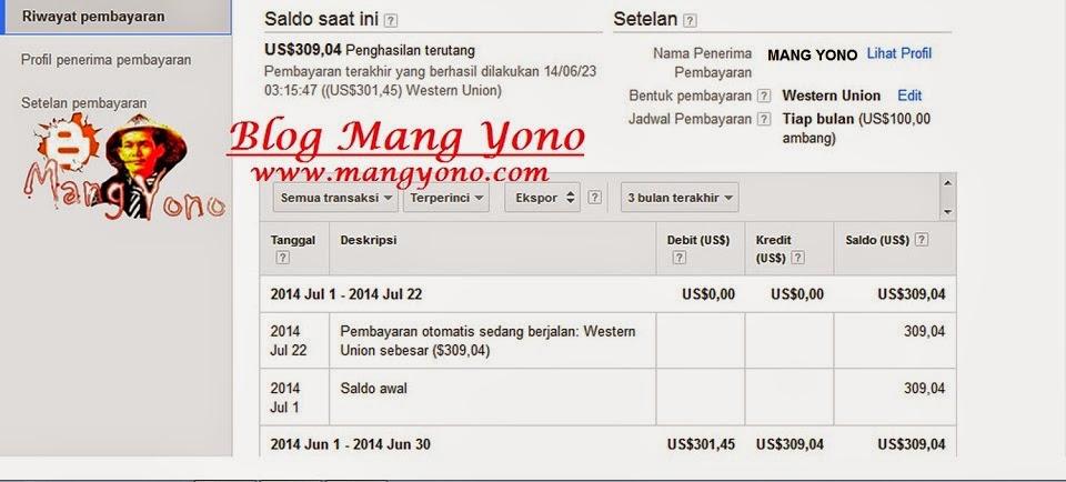 Pembayaran otomatis sedang berjalan: Western Union sebesar ($309,04)
