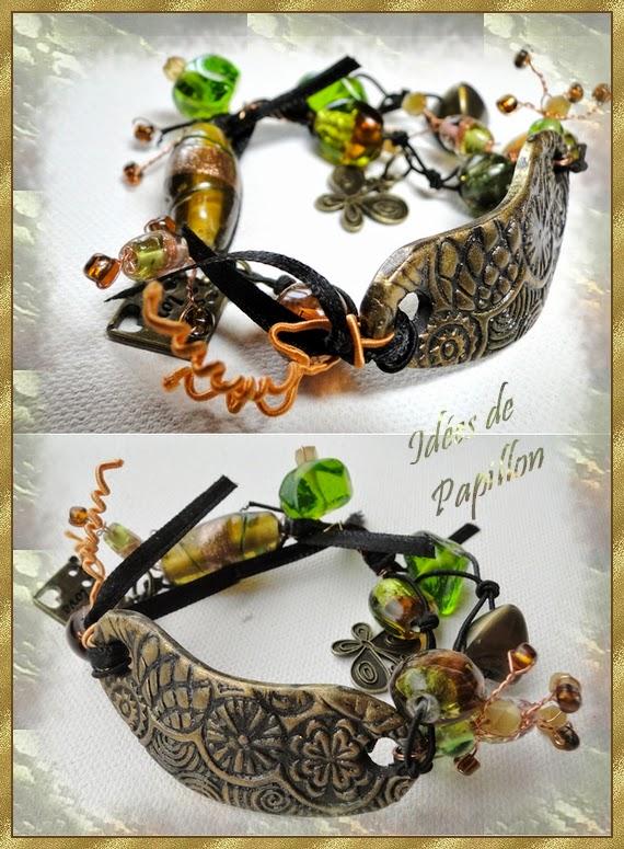 bracelet breloque bronze vert fimo perle