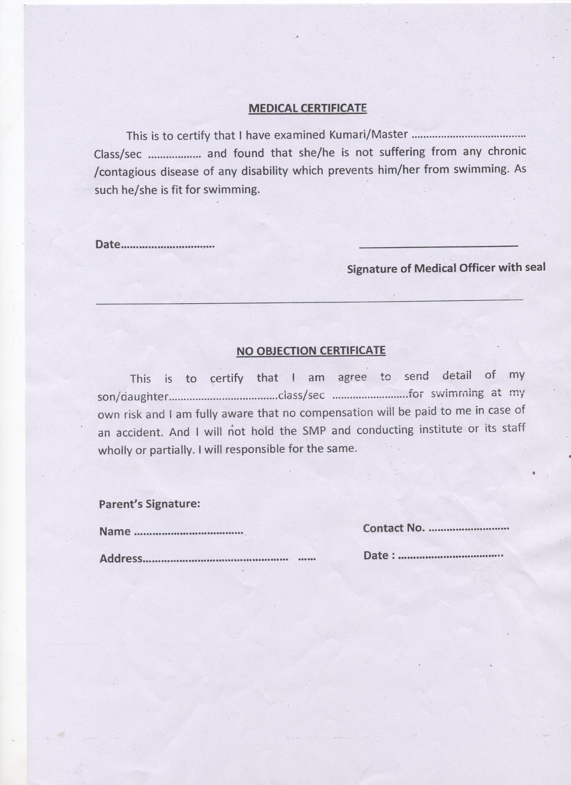 Medical Certificate And No Objection Certificate (NOC) For Swimming   2013 2014  Non Objection Letter