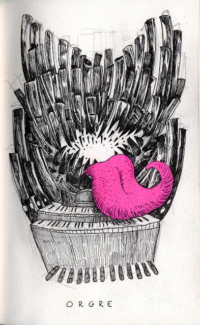 dessin au stylo noir avec rehaut rose d'un orgue diabolique et carnassier tirant la langue