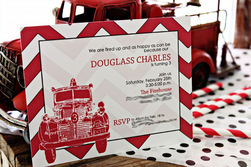 Karas Party Ideas Firetruck 3rd Birthday Party Vintage Fireman – Fireman Party Invitations