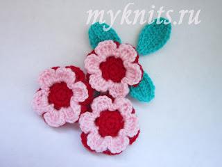 Объемные цветы крючком. Описание