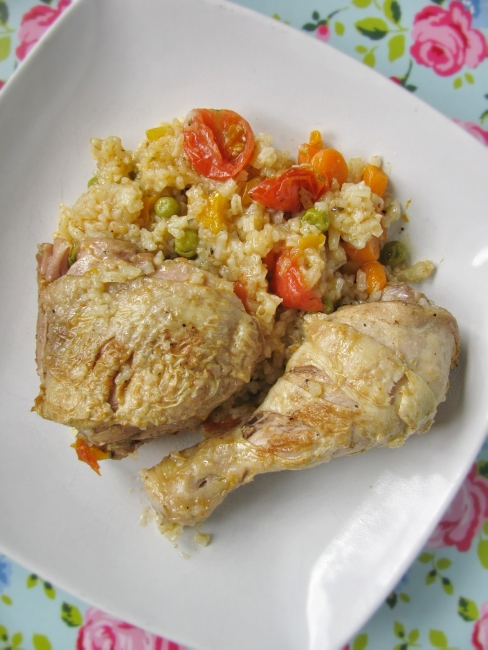 one pot chicken with rice and vegetables