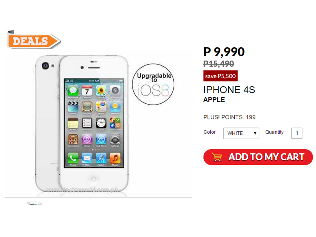 Sale Alert: Buy iPhone 4s For Only Php9,990 From Php15,490