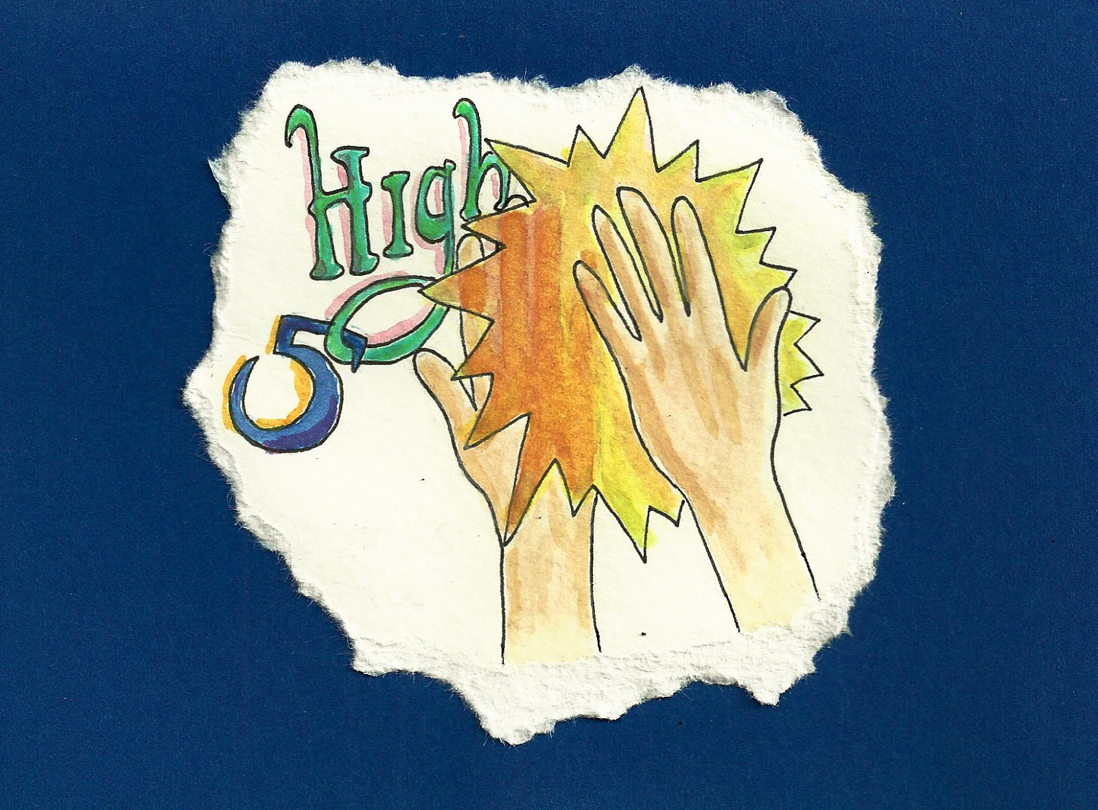 Debbie dots greeting card blog new job cards sofi is a hand therapist who recently accepted a new job in vail this card features a celebratory watercolor high five m4hsunfo