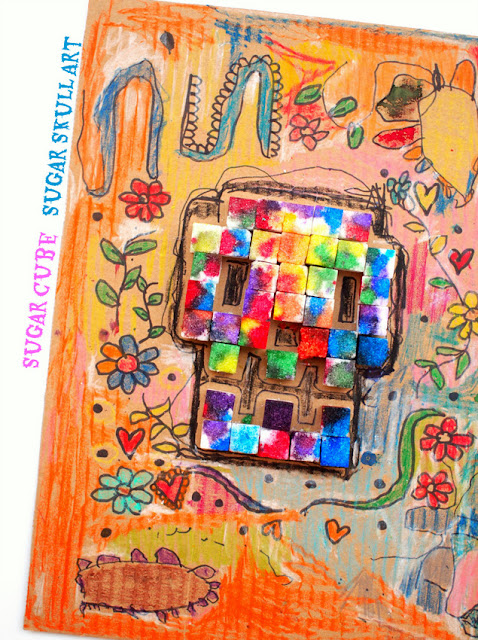 Sugar Cube Sugar Skull Art- Fun Fall Preschool Art