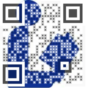 QR code superimposed over international symbol of library
