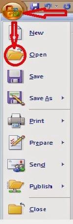 ikon open pada office button