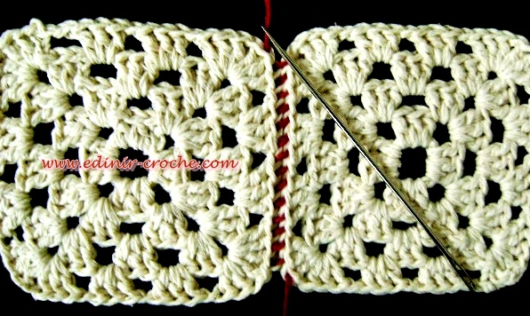 aprender croche emendando ou costurando square croche edinir-croche