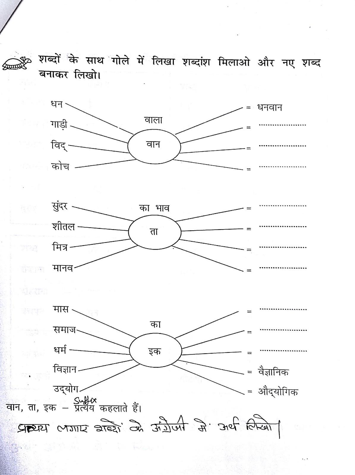 ... for classes 56 7 8 prefix : Hindi Grammar Worksheets For Grade 6