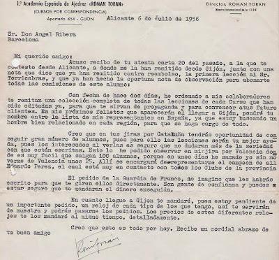 Carta de Román Torán a Ángel Ribera en 1956