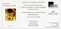 """Presentación de """"CASI LUEGO, CASI TARDE"""", el nuevo poemario de MARÍA SANGÜESA"""