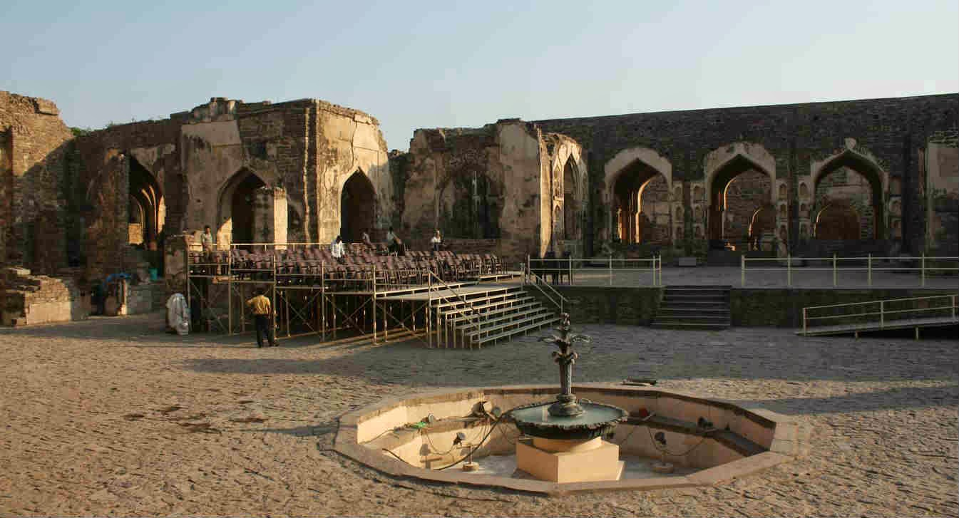 The stage being prepared for light and music show at Taramati Baradari