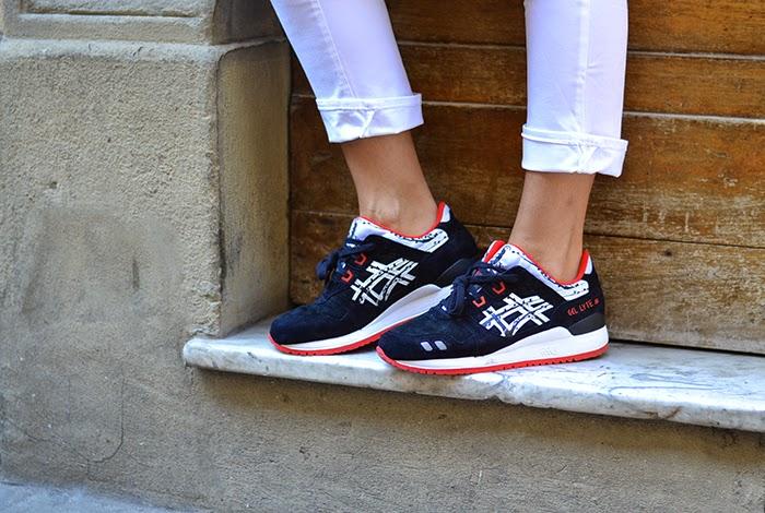 sneakers asics nero bianco rosso