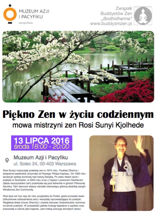 """""""Piękno zen w życiu codziennym"""" wykład Rosi Sunyi w Muzeum Azji"""