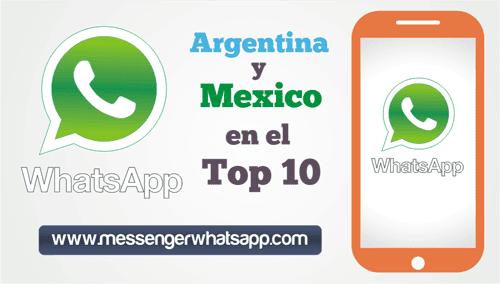 Argentina y Mexico dentro del top 10 de los países que mas usan WhatsApp