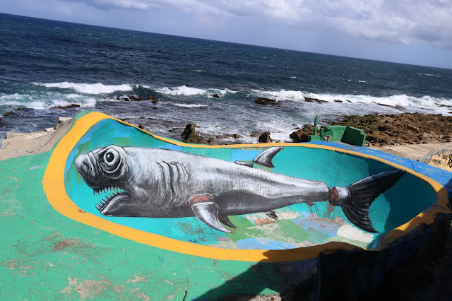 As a wrap up of his residency in Puerto Rico with JUSTKIDS, ROA dropped one last piece at the iconic bowl of La Perla. La Perla is a historical community astride the northern historic city wall of Old San Juan, Puerto Rico, stretching about 650 yards along the rocky Atlantic coast.