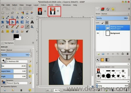 Create document for pas photo in Gimp