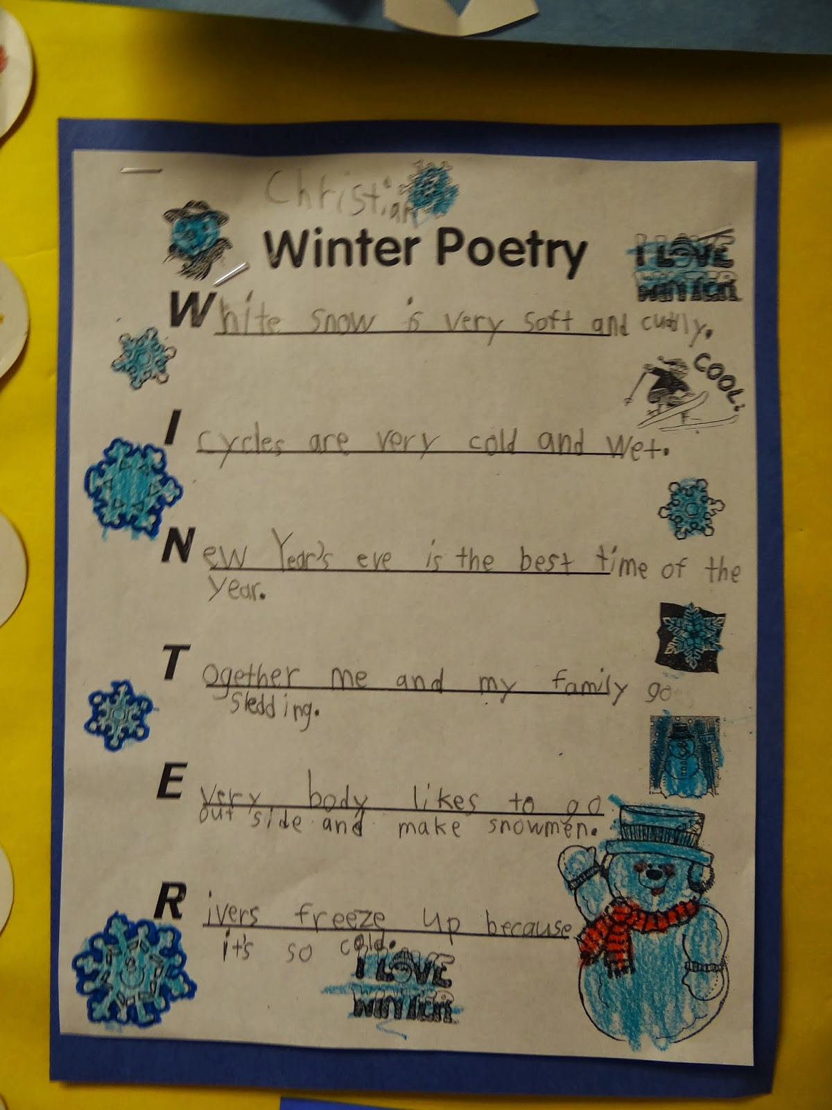 Winter Acrostics with sentences that remind us of winter things....