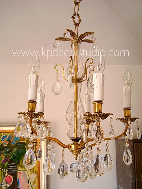 Comprar lámpara antigua vintage estilo clásico con lágrimas de cristal y brazos de latón y bronce