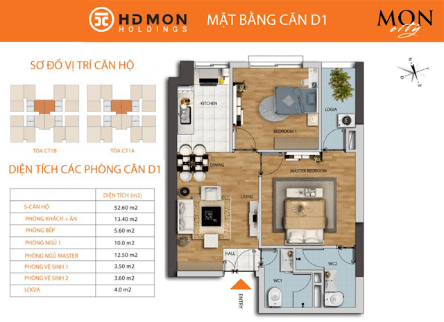 Căn D1 52m2 chung cư HD Mon City